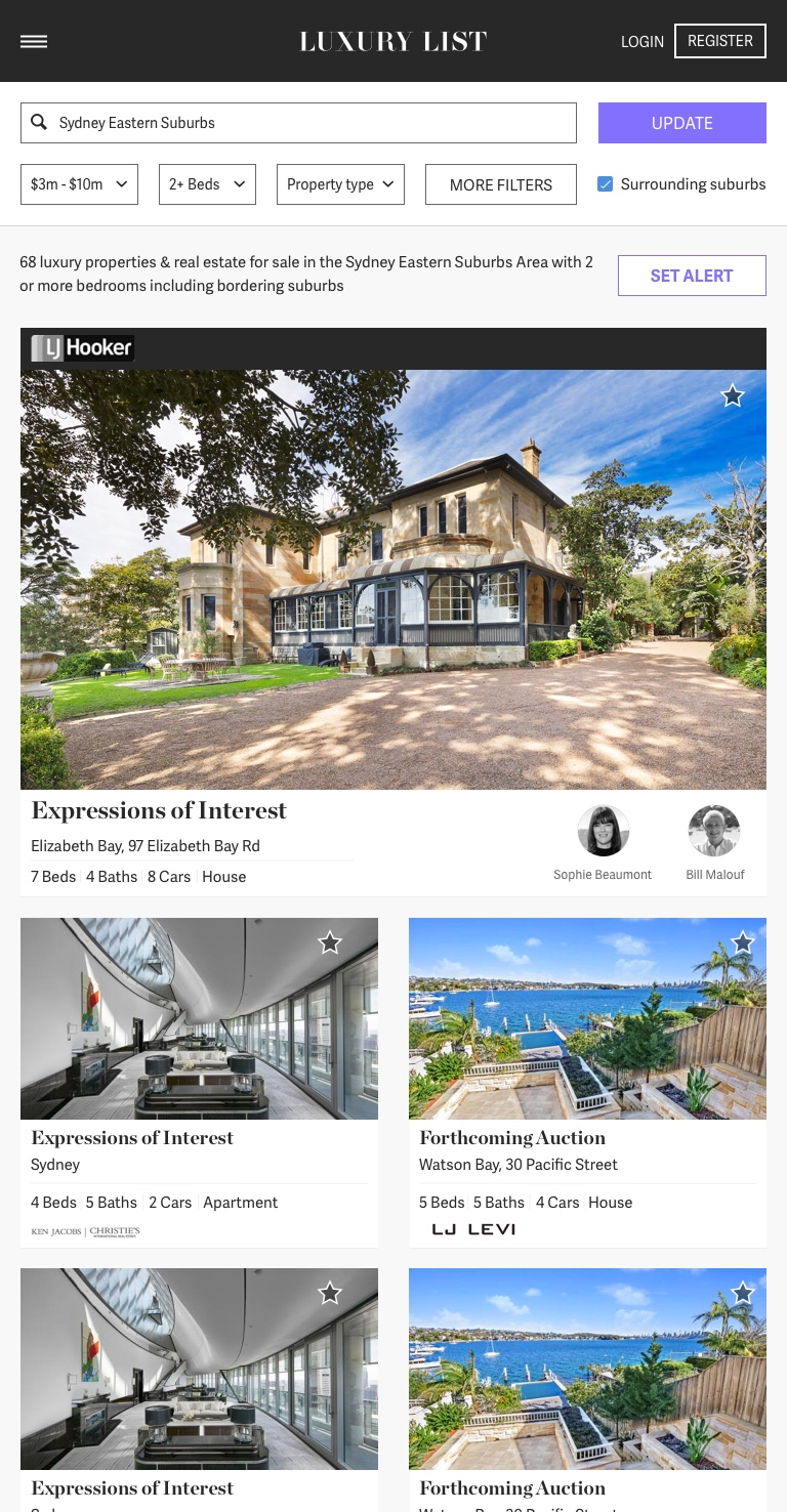 Luxury List UI design search with featured property template for tablet