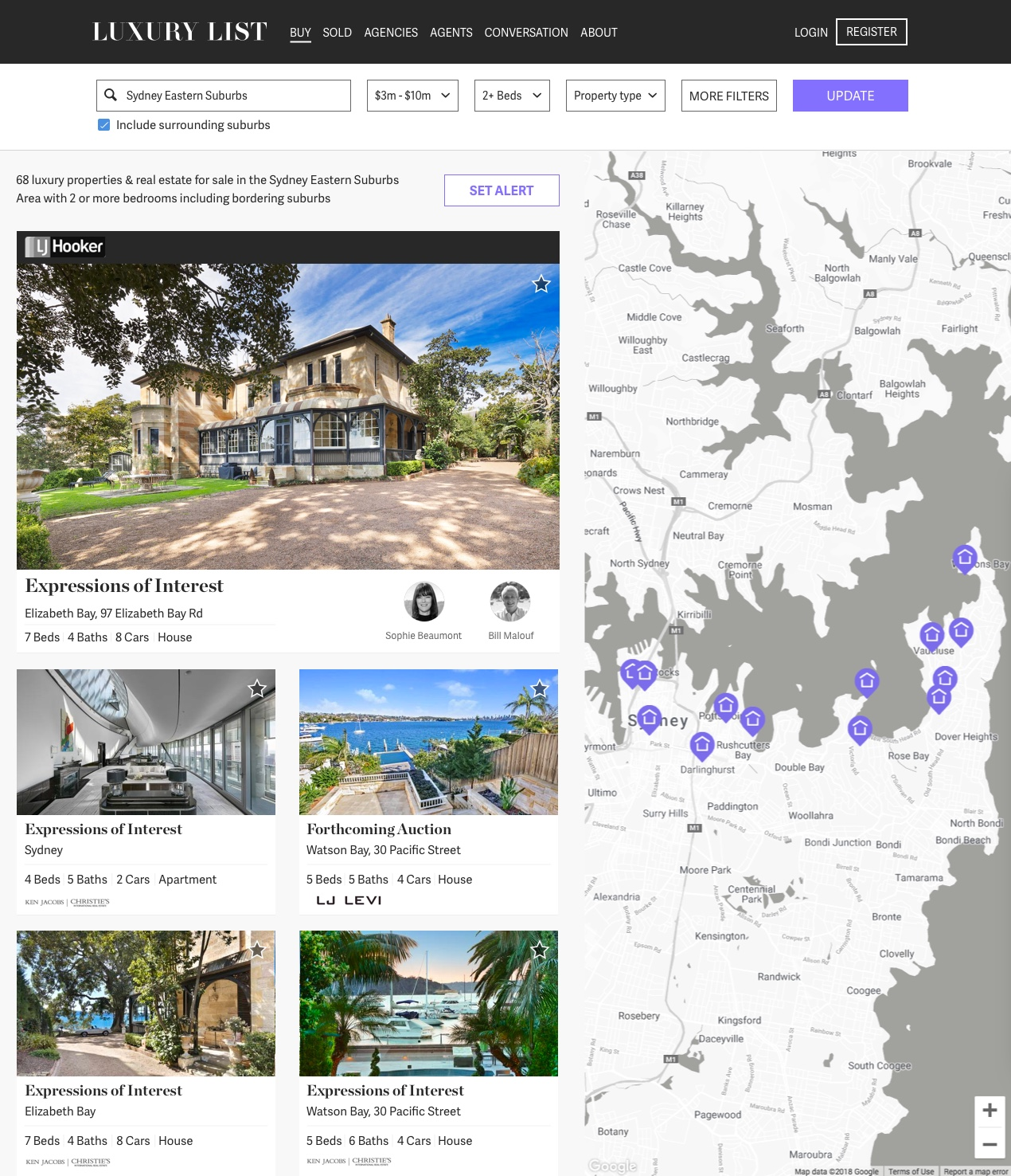 Luxury List Search with featured property template