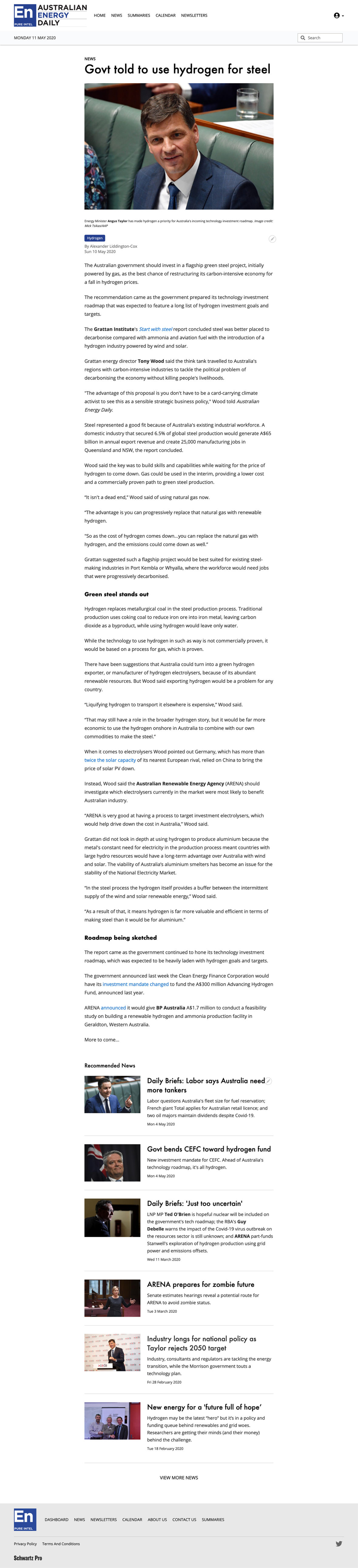 Australian Energy Daily UI Design article template